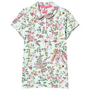 Joules Girls Tops Green Green Flowered Polo Tee