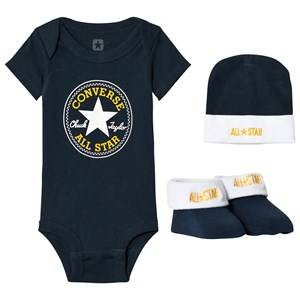 Converse Unisex All in ones Navy Navy Baby Body, Beanie and Booties Set
