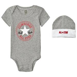 Converse Unisex All in ones Grey Grey Baby Body, Beanie and Booties Set