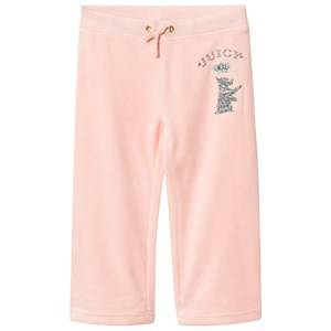 Juicy Couture Girls Bottoms Pink Pale Pink Jewelled Scotty Logo Velour Track Pants