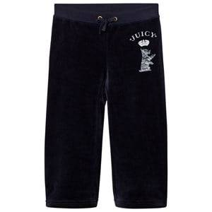 Juicy Couture Girls Bottoms Navy Navy Jewelled Scotty Logo Velour Track Pants