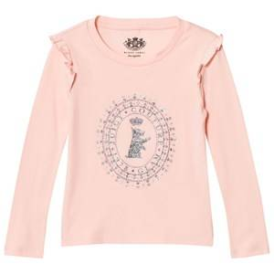 Juicy Couture Girls Tops Pink Pink Jewelled Scotty Logo Frill Tee