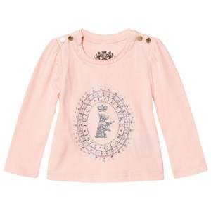 Juicy Couture Girls Tops Pink Pale Pink Glitter Scotty Logo Tee