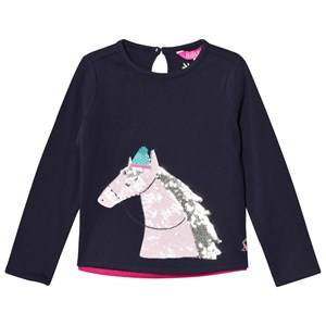 Tom Joule Girls Tops Navy Navy Sequin Horse Print Tee