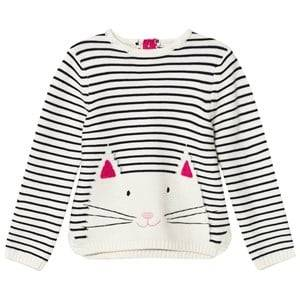 Tom Joule Girls Jumpers and knitwear Cream Cream Navy Cat Intarsia Sweater