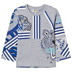 Kenzo Boys Tops Grey Gray Allover Icons Tee