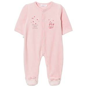 Absorba Girls All in ones Pink Footed Baby Body Pink Cat Print Velour