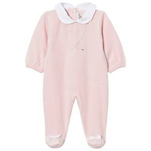 Absorba Girls All in ones Pink Footed Baby Body Pink Swarovski Velour