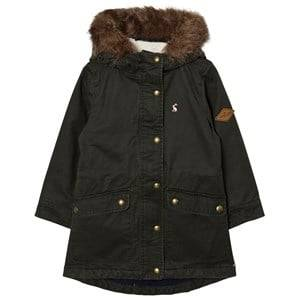 Joules Girls Coats and jackets Green Khaki Parka Faux Fur Hood