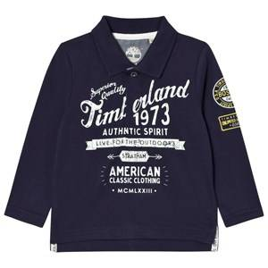 Timberland Boys Tops Navy Navy Printed Branded Long Sleeve Polo