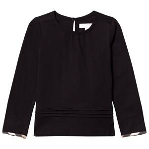 Burberry Girls Tops Black Pleat and Check Detail Black T-Shirt