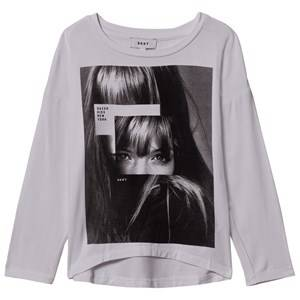 DKNY Girls Tops White Face Print Tee