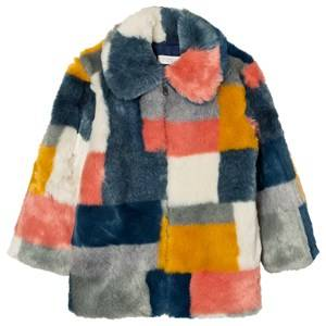 Stella McCartney Kids Girls Coats and jackets Blue Multi Colour Faux Fur Abbie Coat