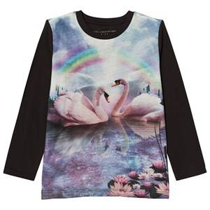 Stella McCartney Kids Girls Tops Black Blue Rainbow Swan Bella Tee