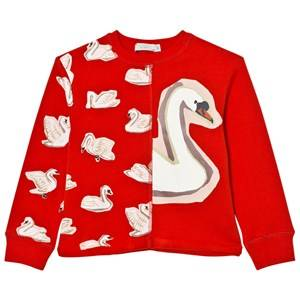 Stella McCartney Kids Girls Jumpers and knitwear Red Red Swan Print June Sweatshirt
