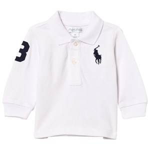 Ralph Lauren Boys Tops Blue Mesh Long Sleeve Polo White