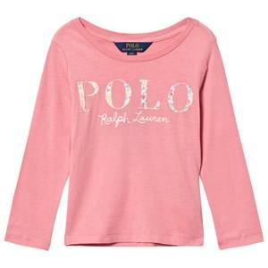 Ralph Lauren Girls Tops Pink Long Sleeve Floral Applique Tee Pink