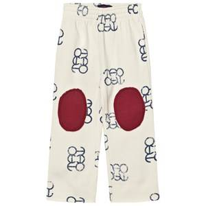 The Animals Observatory Unisex Bottoms Cream Horse Pants White Blue Logo