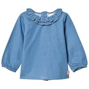 Carrément Beau Girls Tops Blue Blue Chambray Frill Blouse