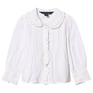Ralph Lauren Girls Tops White White Pintuck Front Shirt