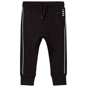 DKNY Girls Bottoms Black Black and White Branded Track Pants