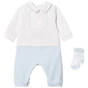 Emile et Rose Boys Clothing sets Blue Langley One-Piece and Sock Set in Blue and White