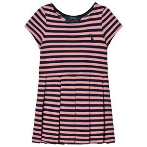Ralph Lauren Girls Dresses Pink Striped Pleated Ponte Dress Pink