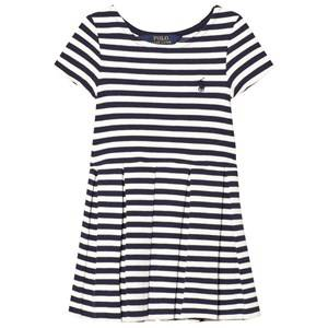 Ralph Lauren Girls Dresses Navy Striped Pleated Ponte Dress Navy