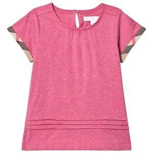 Burberry Girls Tops Pink Pleat and Check Detail Pink T-Shirt
