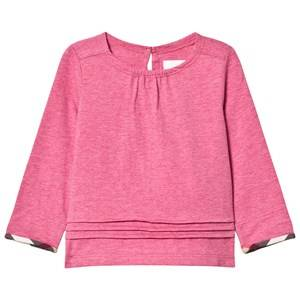 Burberry Girls Tops Purple Pleat and Check Detail Pink T-Shirt