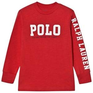 Ralph Lauren Boys Tops Red Slub Cotton Jersey Graphic Tee Red