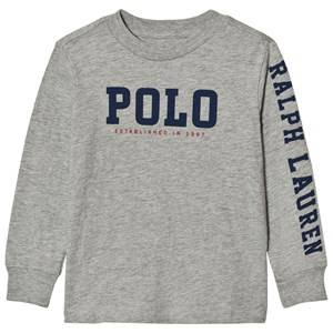 Ralph Lauren Boys Tops Grey Slub Cotton Jersey Graphic Tee Grey