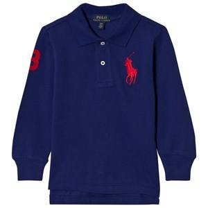 Ralph Lauren Boys Tops Blue Mesh Long Sleeve Polo