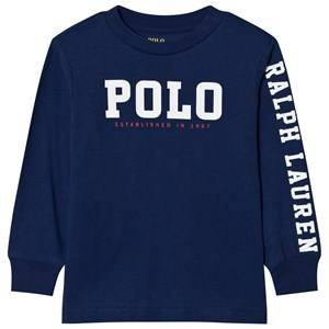 Ralph Lauren Boys Tops Navy Slub Cotton Jersey Graphic Tee Navy