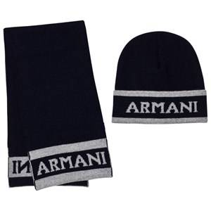 Giorgio Armani Junior Boys Clothing sets Navy Navy and Grey Branded Hat and Scarf Set
