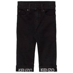 Kenzo Boys Bottoms Grey Washed Black Branded Turn Up Jeans