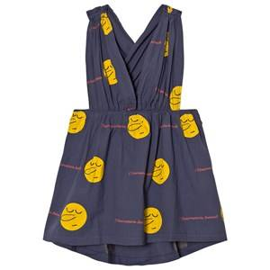 The Animals Observatory Girls Dresses Blue Goose Dress Deep Blue Yellow Face