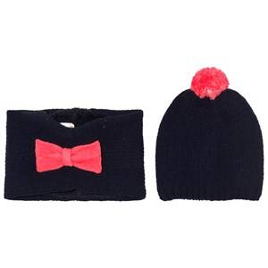 Billieblush Girls Headwear Navy Navy Pink Bow Hat Snood Scarf Set