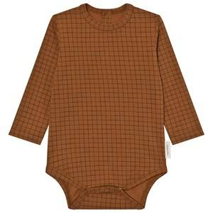 Tinycottons Unisex All in ones Brown Grid Long Sleeve Baby Body Brown/Black