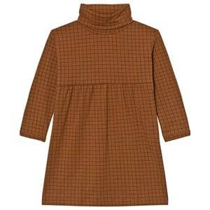 Tinycottons Girls Dresses Brown Grid Turtle Neck Dress Brown / Black