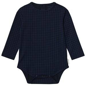 Tinycottons Unisex All in ones Blue Grid Long Sleeve Baby Body Dark Navy/Blue