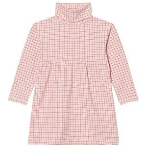 Tinycottons Girls Dresses Pink Grid Turtle Neck Dress Pale Pink/Red