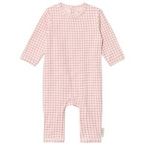 Tinycottons Unisex All in ones Pink Grid One-Piece Pale Pink/Red