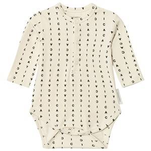 Tinycottons Unisex All in ones Beige Alphabet Soup Long Sleeve Baby Body Beige/Black