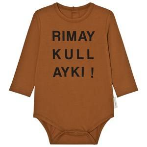 Tinycottons Unisex All in ones Brown Quechua Graphic Long Sleeve Baby Body Brown/Black