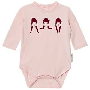 Tinycottons Girls All in ones No-Worry Graphic Long Sleeve Baby Body Light Pink/Bordeaux