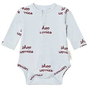 Tinycottons Unisex All in ones Blue Shoo Worries Long Sleeve Baby Body Light Blue/Bordeaux