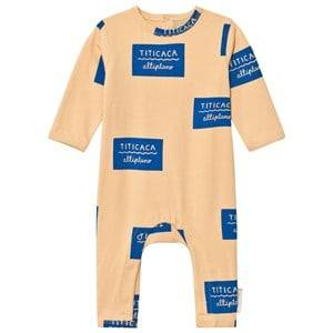 Tinycottons Unisex All in ones Beige Titicaca Badge One-Piece Nude/Blue