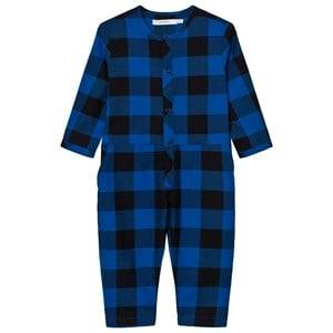 Tinycottons Unisex All in ones Blue Check Woven Jumpsuit Dark Navy/Blue
