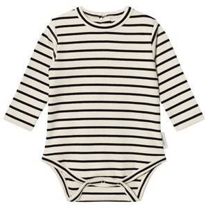 Tinycottons Unisex All in ones Beige Stripes Long Sleeve Baby Body Beige/Black